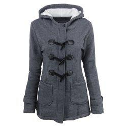Women'S Cotton Long-Sleeved Hooded Wool-Blend Horn Leather Winter Coat -