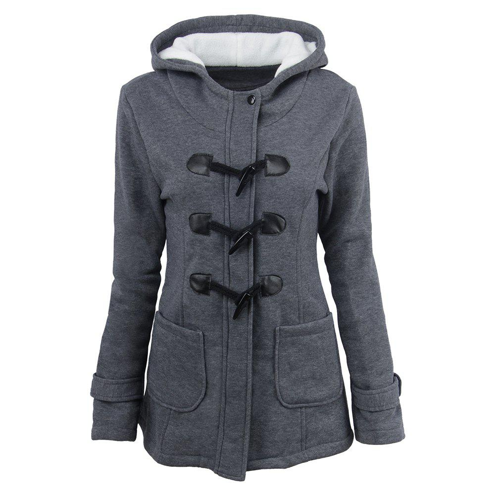 Affordable Women'S Cotton Long-Sleeved Hooded Wool-Blend Horn Leather Winter Coat