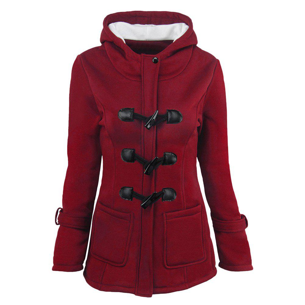 Outfit Women'S Cotton Long-Sleeved Hooded Wool-Blend Horn Leather Winter Coat