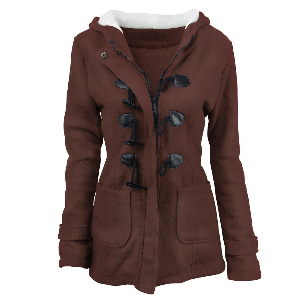 Outfits Women'S Cotton Long-Sleeved Hooded Wool-Blend Horn Leather Buckle Winter Coat