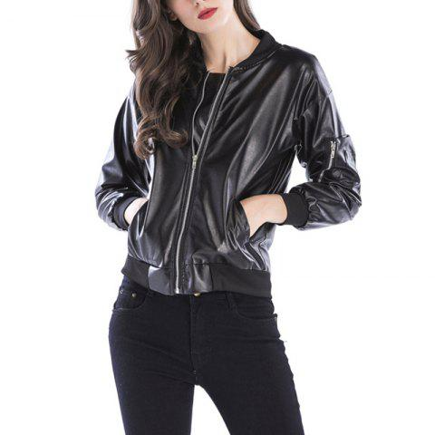 Cool Ladies Zipper Collar Black Leather Fashion Jacket