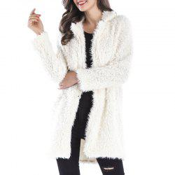Winter Plush Coat Female Lapel Furry Long Overcoat -