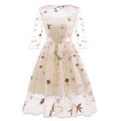 Ladies Hand-Embroidered Fluffy Party Lace Dress -