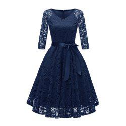 Ladies' Autumn and Winter V-Neck Long-Sleeved Lace Temperament Slim Dress -