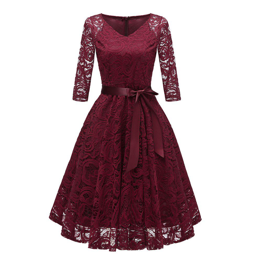 Shops Ladies' Autumn and Winter V-Neck Long-Sleeved Lace Temperament Slim Dress