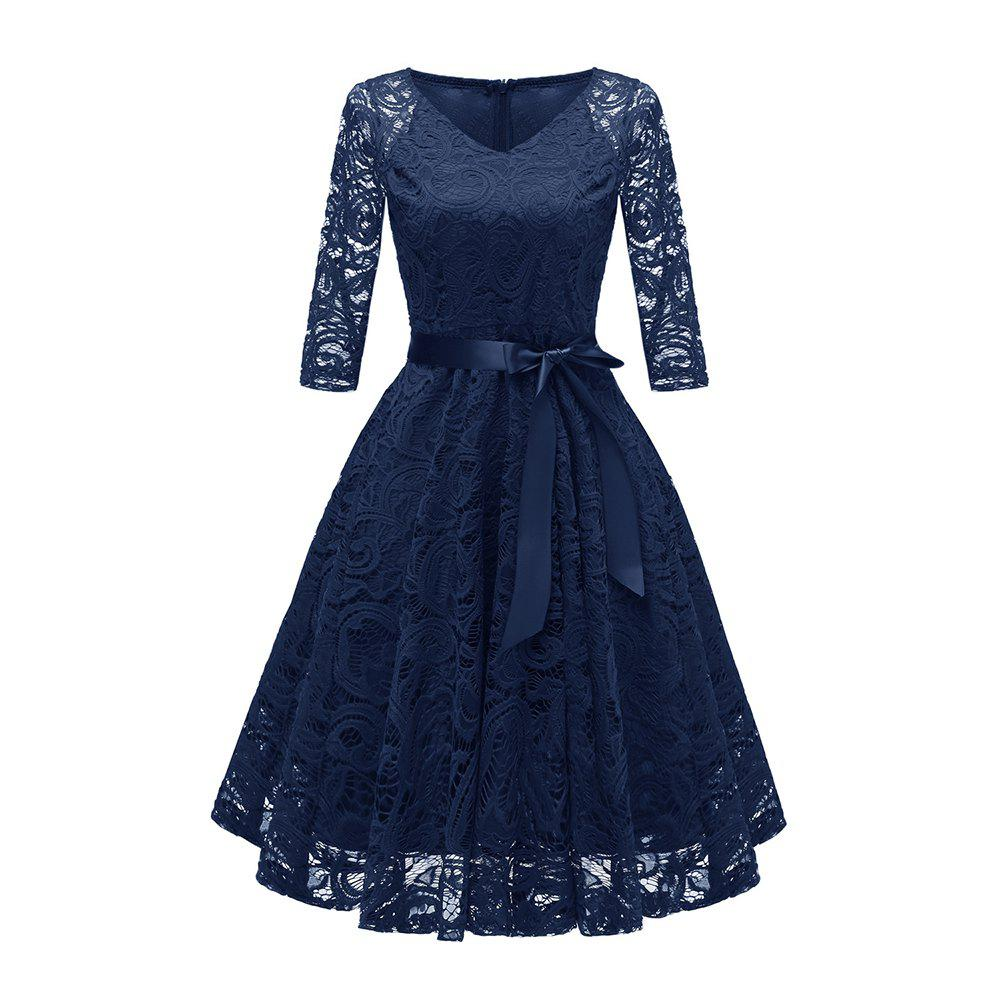 Store Ladies' Autumn and Winter V-Neck Long-Sleeved Lace Temperament Slim Dress