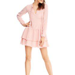 A Long-Sleeved Dress with Bow Hems -