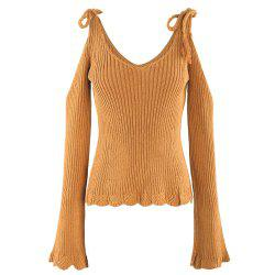 KISSMILK Women'S Solid Color Trumpet Sleeve Sweater Brown -