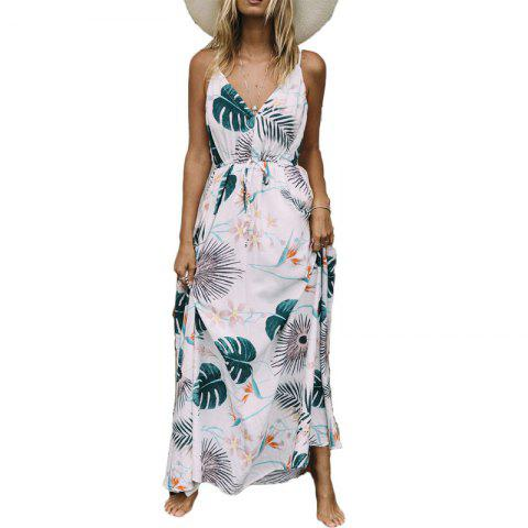 Bohemian Beach Long Skirt Fashion Printed Sling Print Round Neck Dress