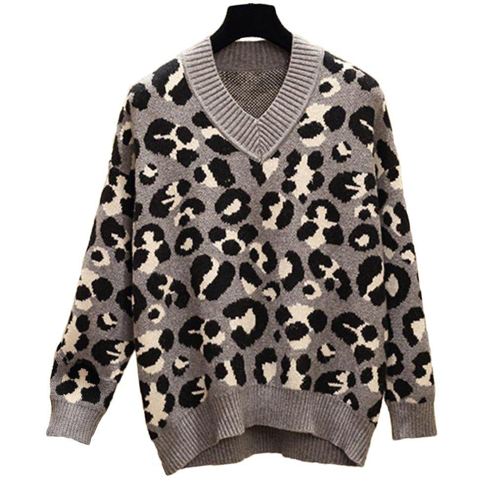 Fancy Women's Plus Size Round Collar Long Sleeve Casual Sweater