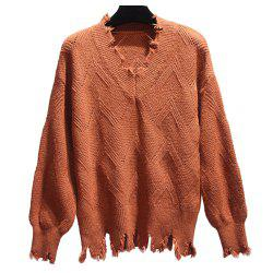 Women's Fashion Plus Size Long Sleeve V Collur Sweater -