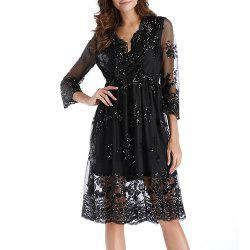 Women's Deep V Sexy Party Sequins with Mesh Mid Sleeve Swing Dress -