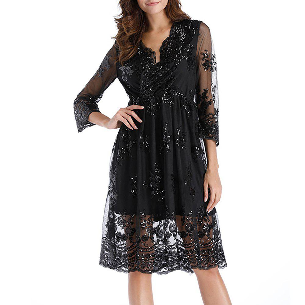 Sale Women's Deep V Sexy Party Sequins with Mesh Mid Sleeve Swing Dress