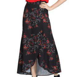 SBETRO Floral Print Skirt Ankle Length A-line Chinoiserie -