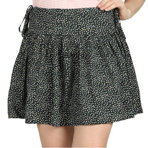 e2d2a92d1aba SBETRO Black Ditzy Print Wide Yoke Flippy Skirt Casual Fashion