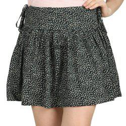SBETRO Black Ditzy Print Wide Yoke Flippy Skirt Casual Fashion -