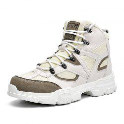 Men High-Top Mesh Breathable Low-Heeled Platform Lace-Up Casual Shoes -
