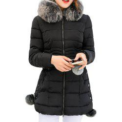 Thickness Warm Parka Hooded Large Fur Collar Female padding coats -