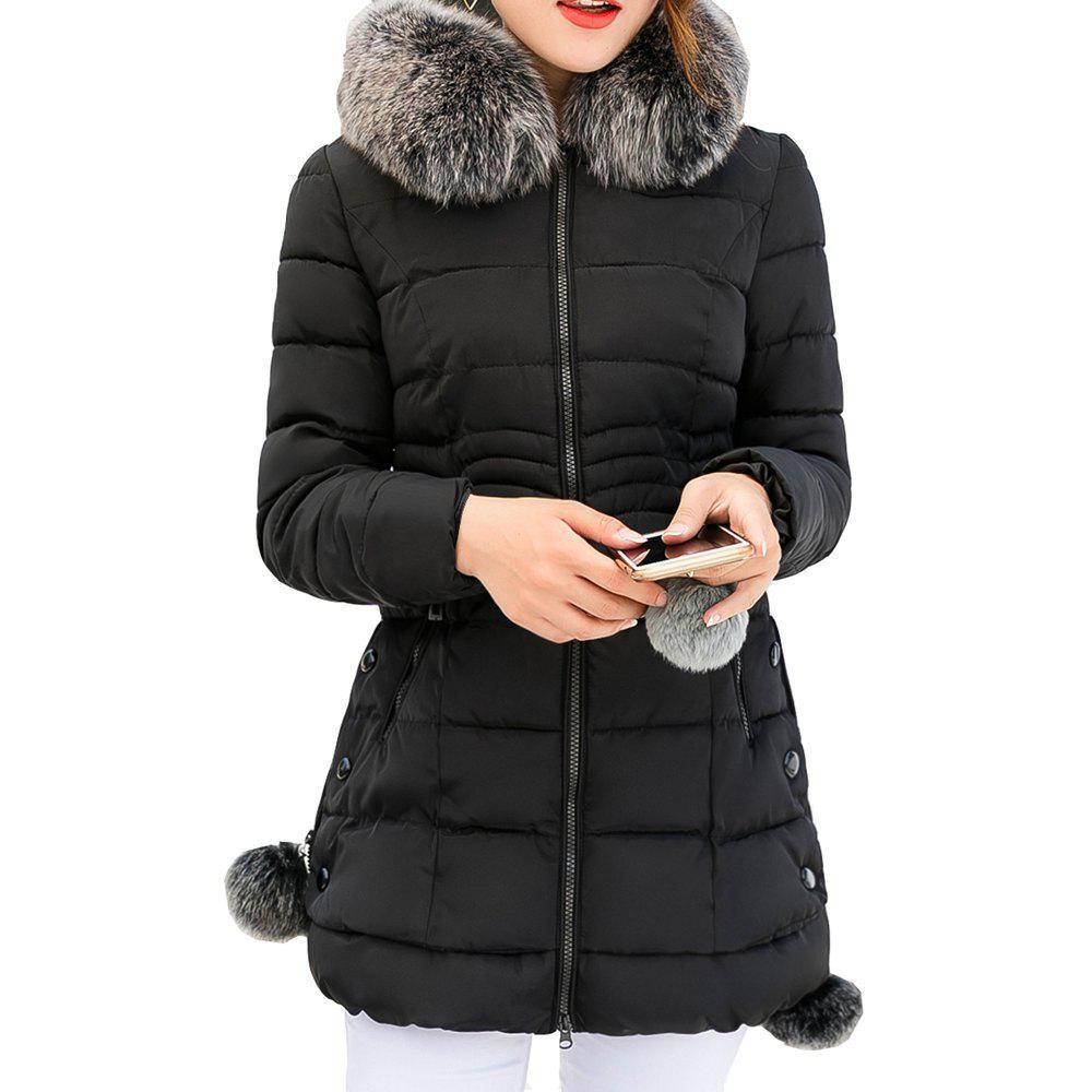 Trendy Thickness Warm Parka Hooded Large Fur Collar Female padding coats