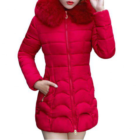 hood padded long  winter down coat women Causal jacket