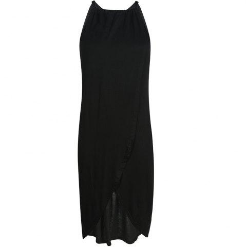 HAODUOYI Women's Fashion Pleated Halter Strap with Solid Color Dress Black