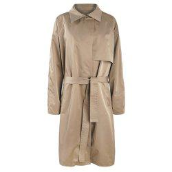 KISSMILK Women'S Striped Lining Complex Long Trench Coat Green -
