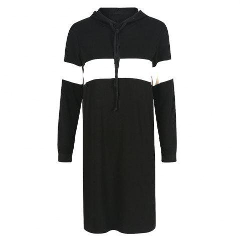 HAODUOYI Women's Fashion and Fashion Loose Hooded Long Sleeve Dress Black