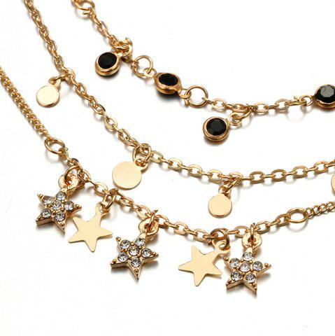 Multilayer Star Beads Crystal Chain Pendant Anklet Set For Women