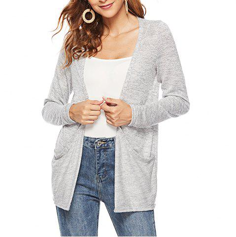 Solid Color Women'S Long-Sleeved Cardigan T-Shirt