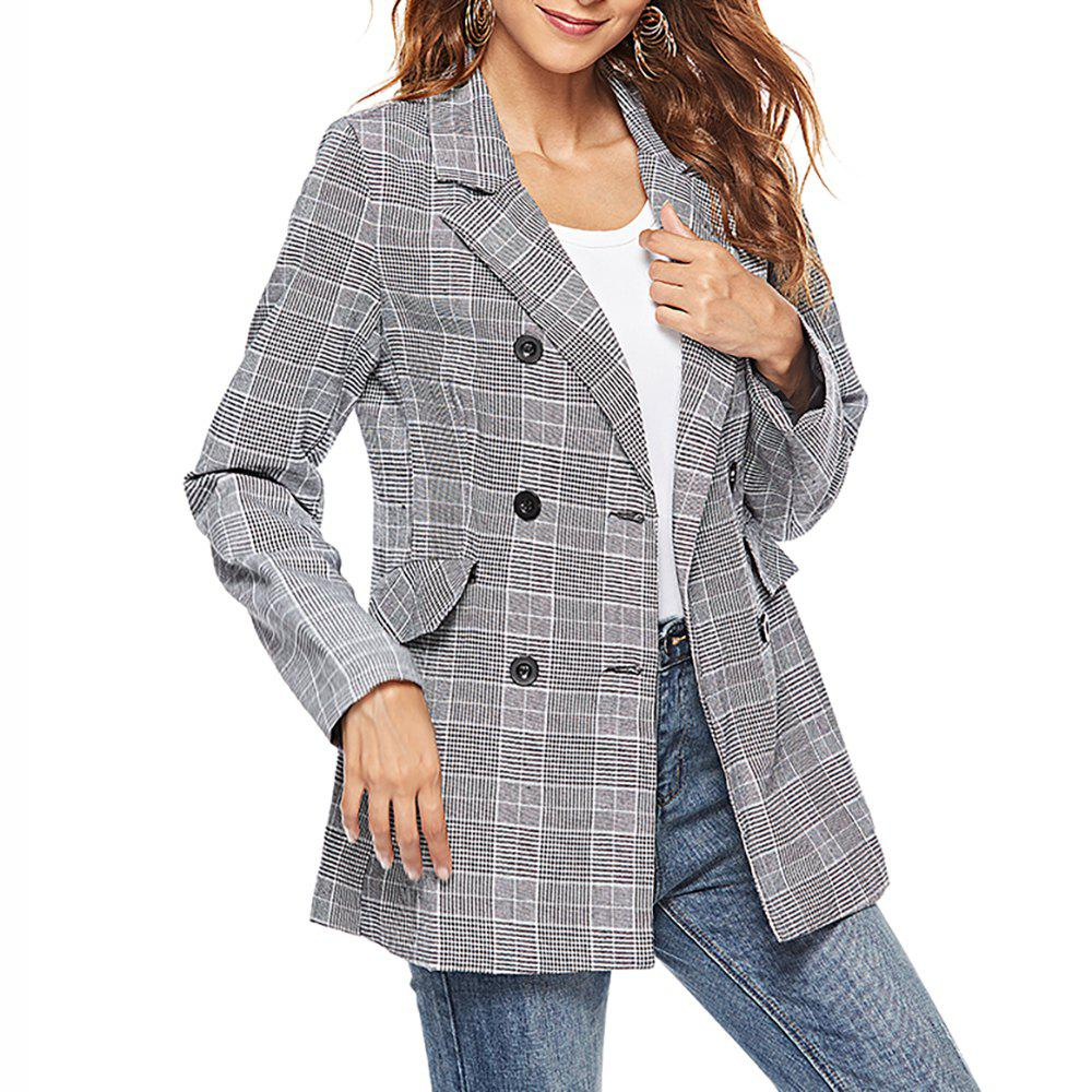 Sale Women'S Blazer Plaid Double Breasted Casual Blazer