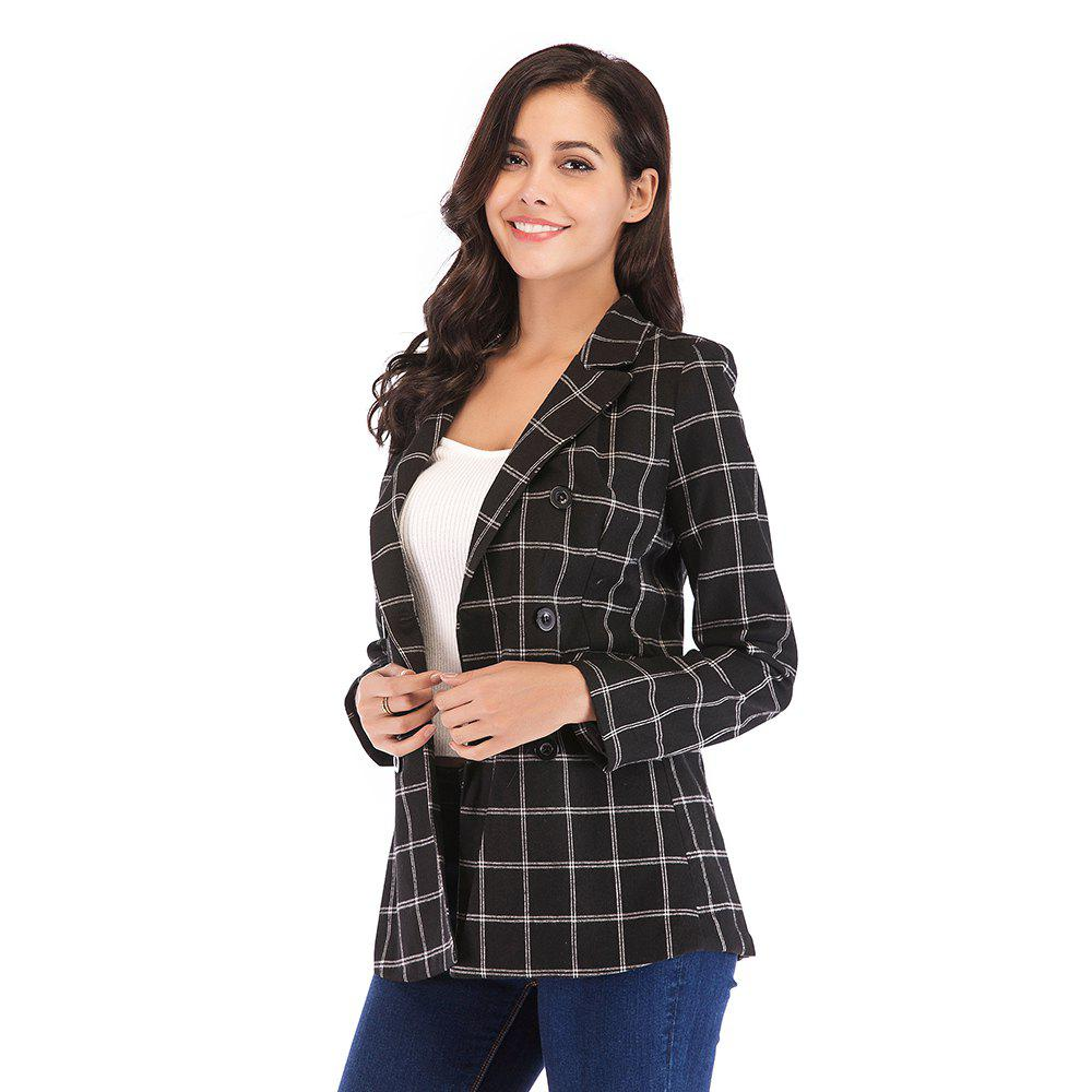Buy Women'S Blazer Plaid Pattern Double Breasted Notched Collar Blazer