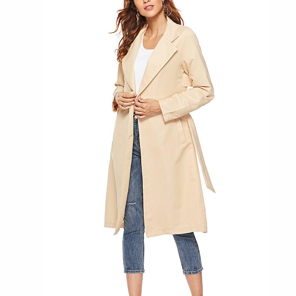 Fashion Women's Trench Coat Solid Color Open Front Sash Casual Coat