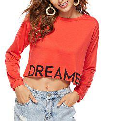 Women's Round Neck Printed Letter Long Sleeve Red T-shirt -