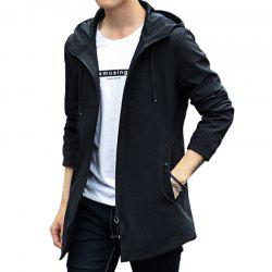 New Men Fashion Long with Cap Casual Solid Jacket Spring Autumn Winter Simple -