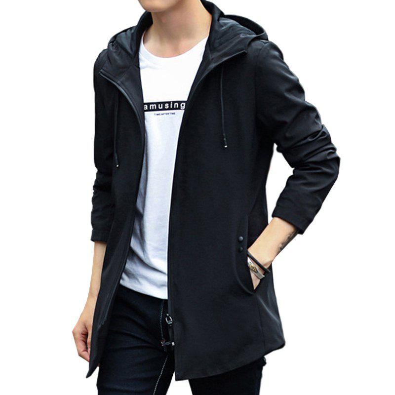 Discount New Men Fashion Long with Cap Casual Solid Jacket Spring Autumn Winter Simple
