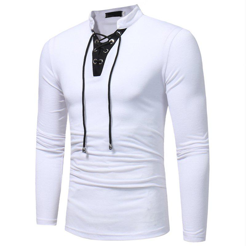 18a005195 44% OFF] New Fashion Men V Neck With Lace And Long Sleeve Casual T ...