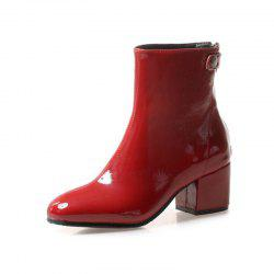 Square Head with Medium and Sexy Lacquer Skin Boots -