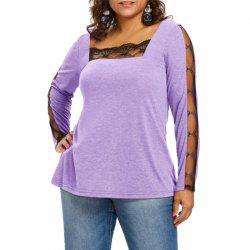 Lace Splicing Square Collar Long Sleeve T Shirt -