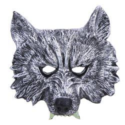 1Pc Halloween Creepy Rubber Animal Werewolf Wolf Head Mask Cosplay Party Costume - Серый