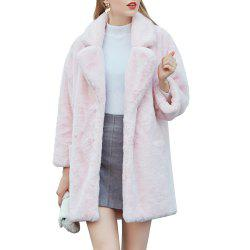 Women's Synthetic Pink Fur Coat Solid Color Notched Collar Outerwear -