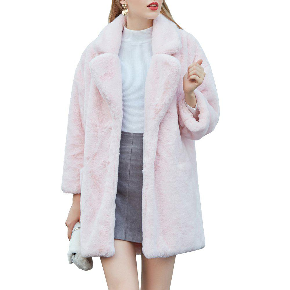 Trendy Women's Synthetic Pink Fur Coat Solid Color Notched Collar Outerwear