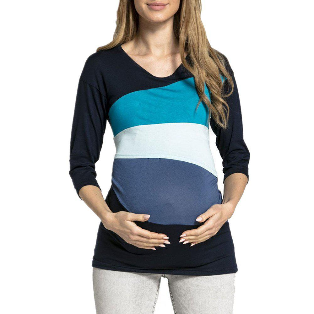 Maternity Wild Round Neck Color Block Patchwork Suckle Casual T-shirt Tops, Light blue