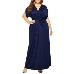 Women's V-neck Batwing Short Sleeve Sashes Plus Size Solid Color Maxi Dress -