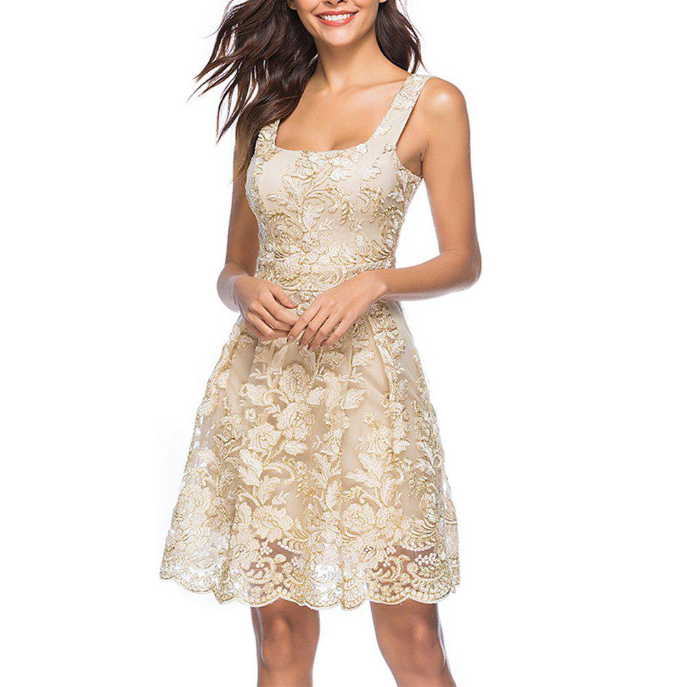 Affordable Women's Sexy Strap Embroidery Floral Party Club Sleeveless Dress