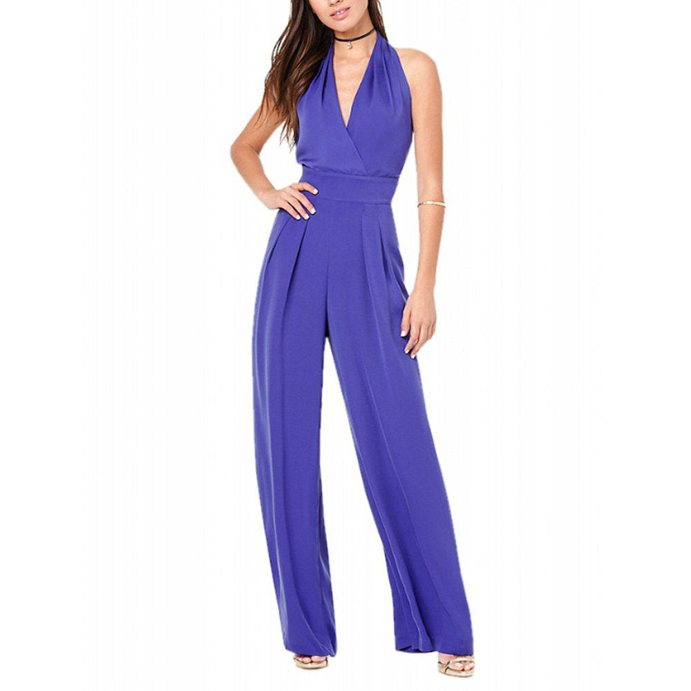 19db4f549aa9 New Women s Fashion Deep V Backless Halter Solid Color Plus Size Wide Leg  Jumpsuits
