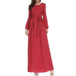 A Long-Sleeved Dress with A Belt -