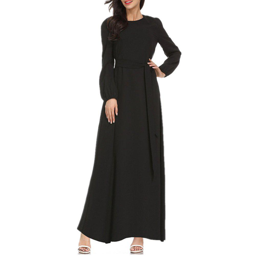Unique A Long-Sleeved Dress with A Belt