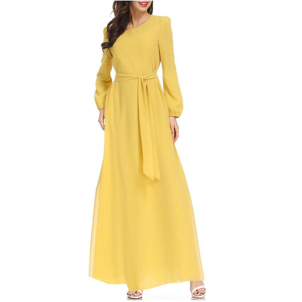 Shops A Long-Sleeved Dress with A Belt