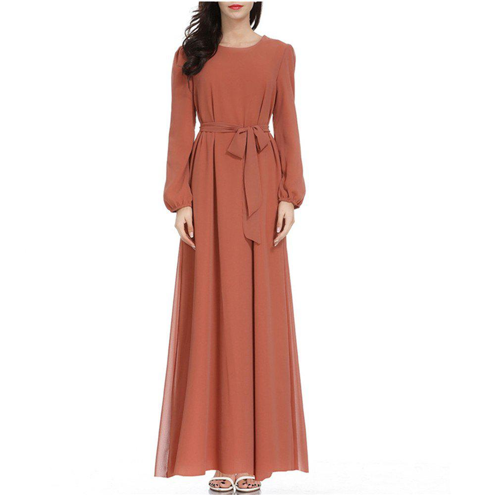Discount A Long-Sleeved Dress with A Belt