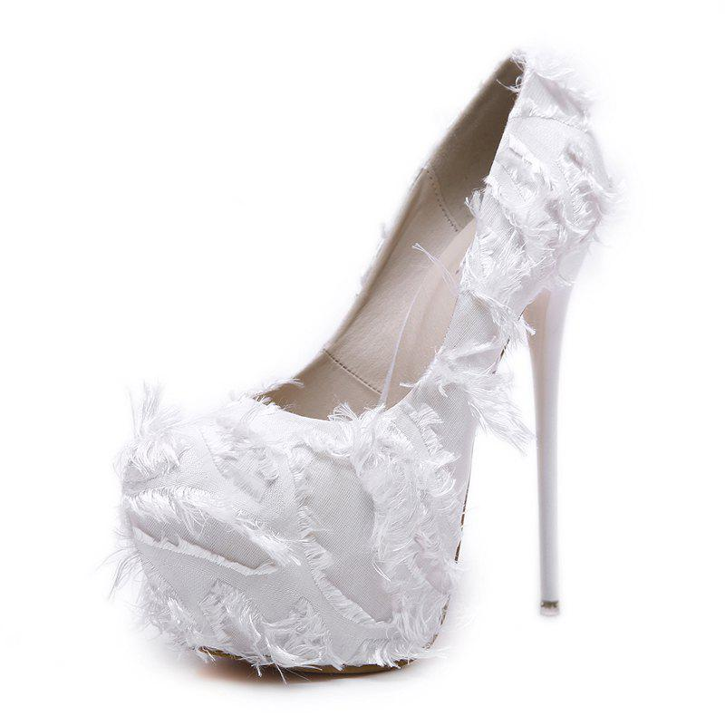 2018 Women s Round Toe Platform Pumps Club Party High Heels In White ... fe481d4f8809